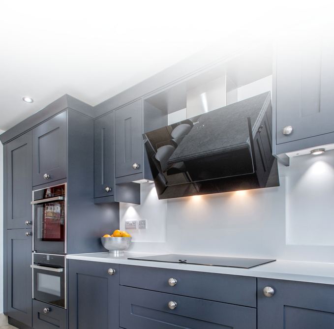dark coloured cupboards with fade effect on image