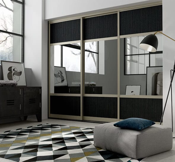 black mirrored sliding wardrobes fitted