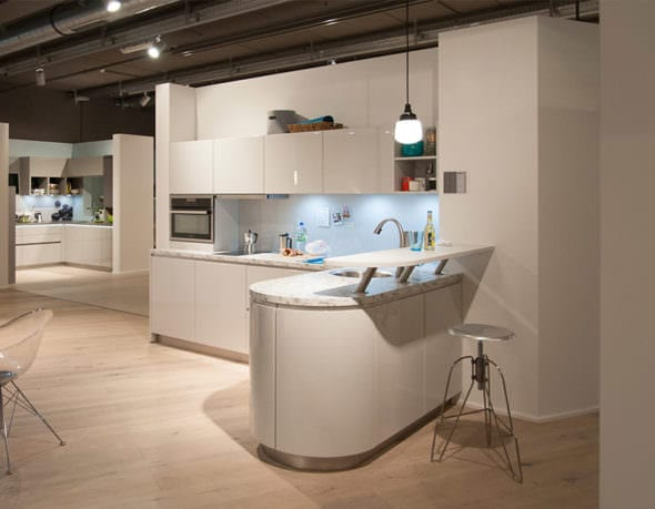 Light kitchen in showroom