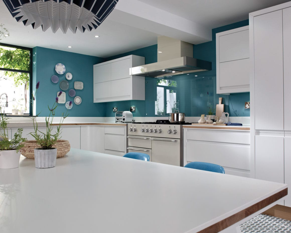remo kitchen with blue walls